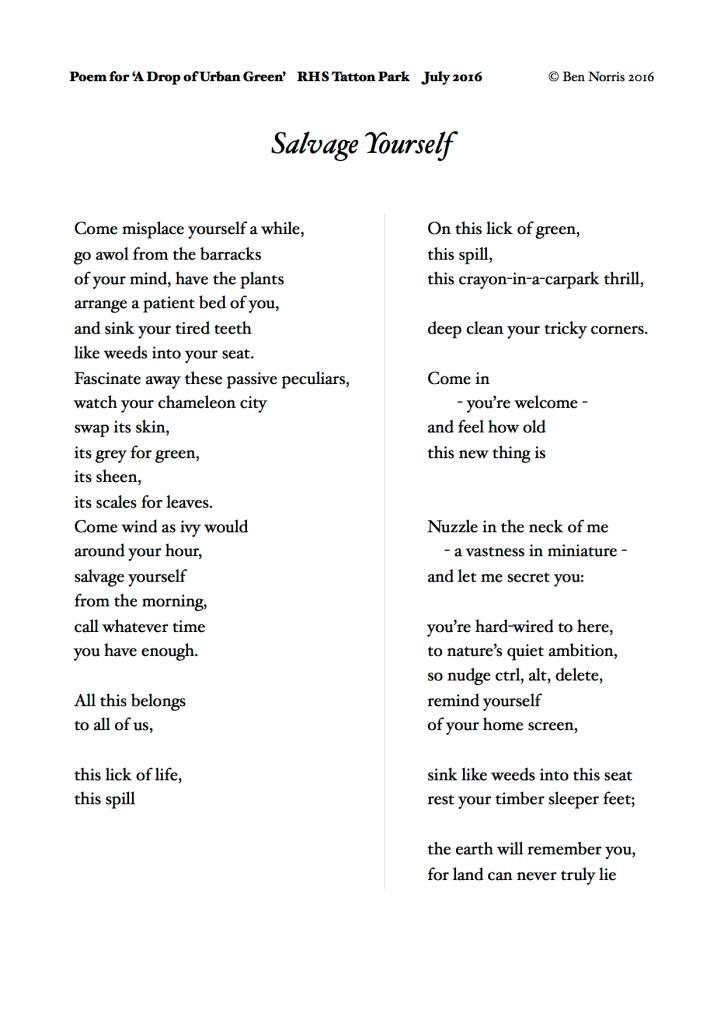 Poem for RHS Tatton Park